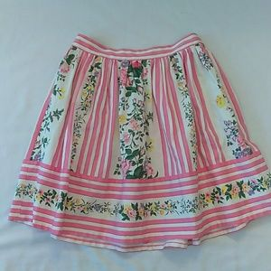 Betsey Johnson Pink Striped Floral Skirt Size 8